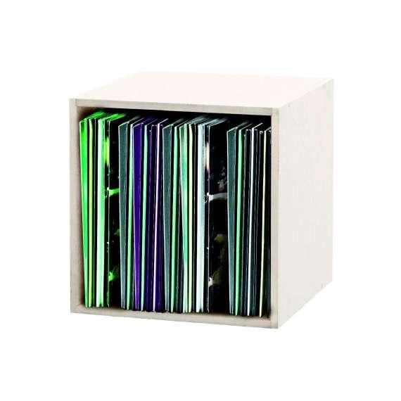 Casier Rangement pour 110 Vinyles Finition Blanche